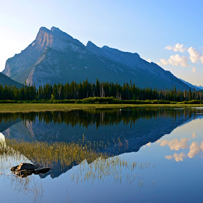 Rundle by  J B  - Landscapes Mountains & Hills ( nature, banff national park, reflections, landscapes, vermillion lakes, banff, rundle mountain )
