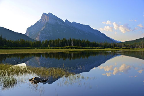 Rundle by  J B  - Landscapes Mountains & Hills ( nature, banff national park, reflections, landscapes, vermillion lakes, banff, rundle mountain )