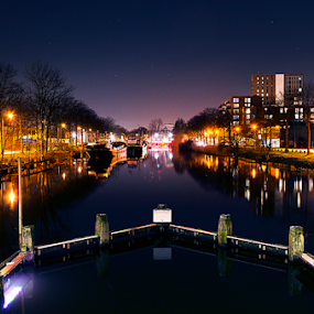 Tilburg at night by Roman Kolodziej - City,  Street & Park  Night ( water, port, lights, exposure, tilburg, boats, reflections, night, city, colours, , city at night, street at night, park at night, nightlife, night life, nighttime in the city )
