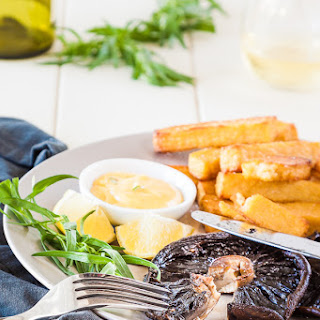 Mushroom Steak And Polenta Chips With Bearnaise Sauce
