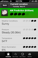 Screenshot of Hunt Predictor Hunting Times