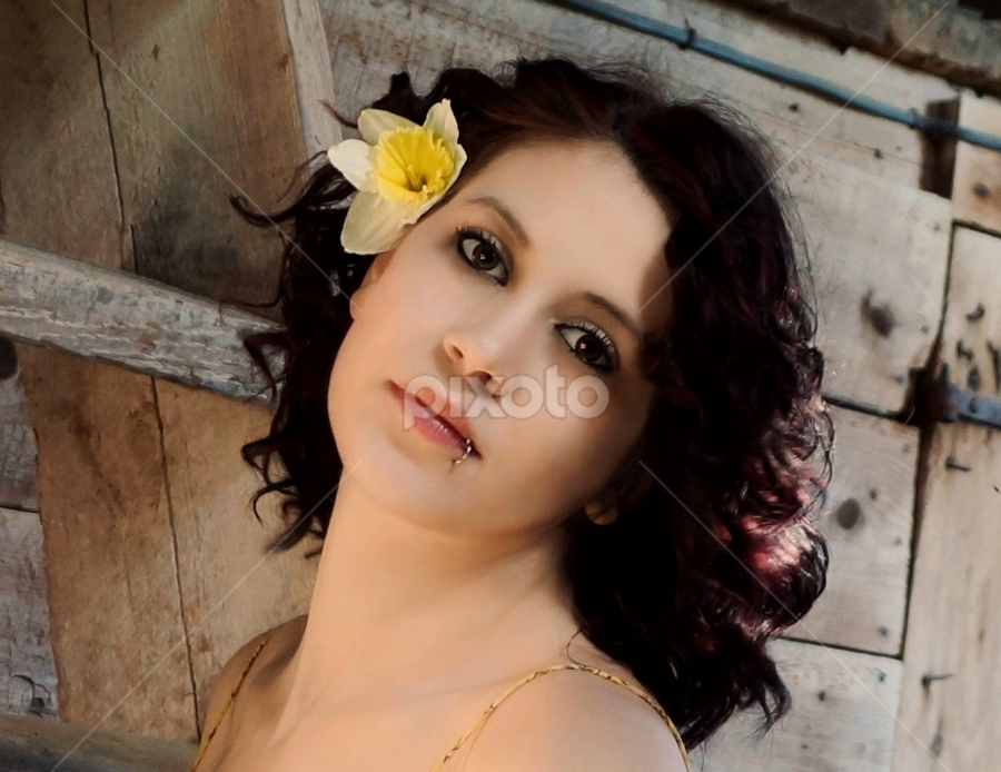 Beautiful Woman by Cheryl Korotky - People Portraits of Women ( brown eyes, 40's hairstyle, sexy, dark hair, a heartbeat in time photography, woman, amazing portraits, beautiful, flowers, women, pretty, soft,  )