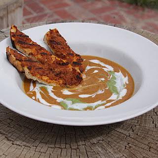 Grilled Sweet Potato Soup with Chorizo Toast.