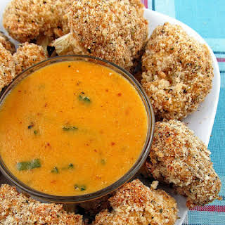 Baked Cauliflower Bites with Cheddar Dipping Sauce.