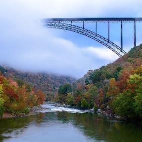 Bridge to Heaven? by Michelle Nolan - Buildings & Architecture Bridges & Suspended Structures ( new river gorge bridge, fog, fall, bridge, wv,  )