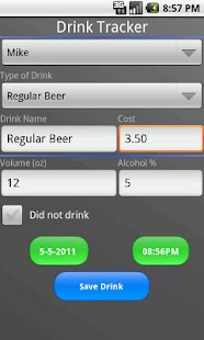 Bottoms Up! BAC Tracker - screenshot thumbnail