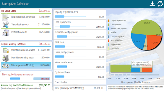 Start-up Cost Calculator - screenshot thumbnail