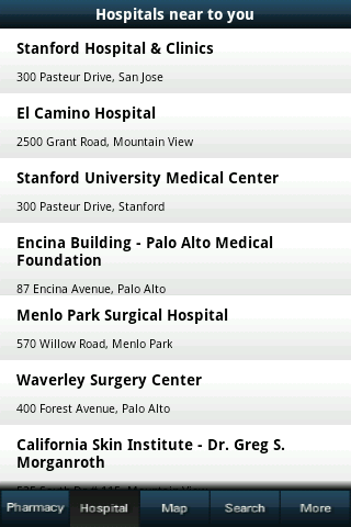 Hospital and pharmacy finder - screenshot