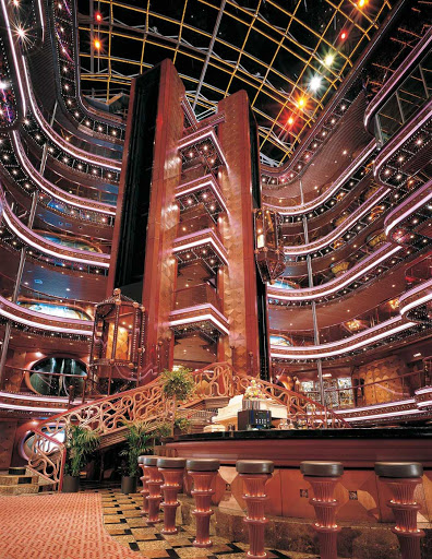 Carnival-Elation-Atrium - Share a cocktail as you take in Carnival Elation's eye-catching 6-story Grand Atrium.