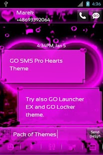 GO SMS Pro Hearts Theme - screenshot thumbnail