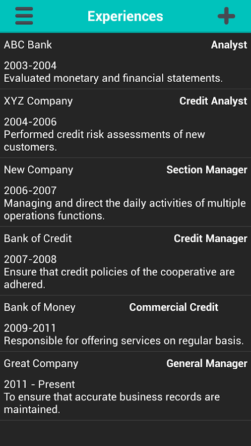 professional resume generator screenshot