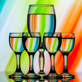 Color Magic by Fahad Iqbal - Artistic Objects Glass ( abstract, champagne glasses, creative, color, glass, refraction )