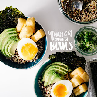 Quinoa Brunch Bowl with Six Minute Soft Boiled Eggs, Creamy Avocado, Tofu Puffs and a Miso Mustard Dressing