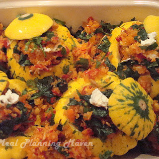 Veggie Stuffed Pattypan Squash with Tomato Basil Coulis