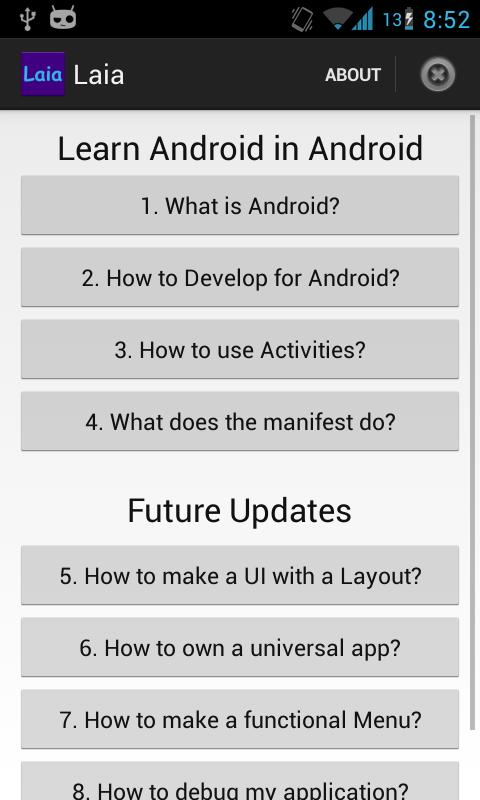LAIA: Learn Android in Android - screenshot