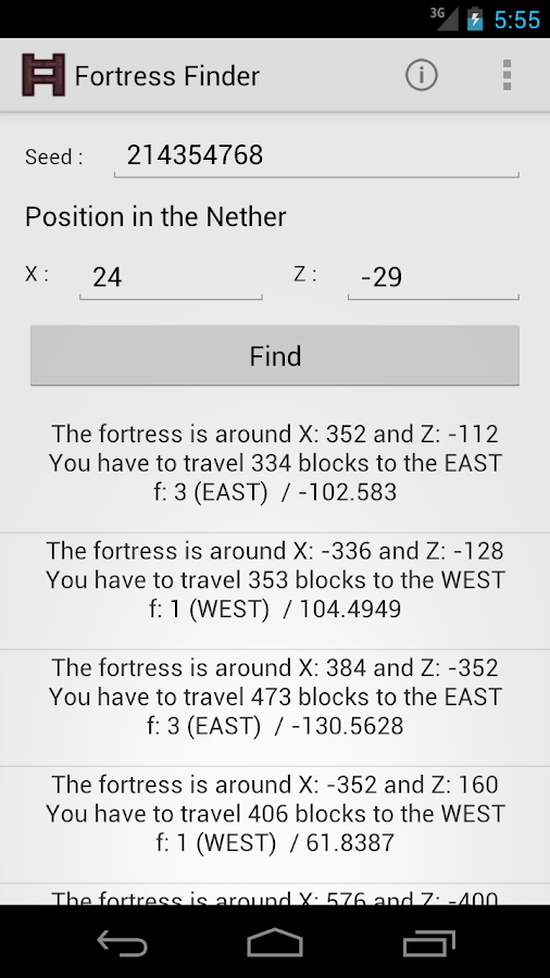 Fortress Finder for Minecraft - screenshot