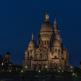 Sacré Coeur - Paris by Marcel de Groot - Buildings & Architecture Places of Worship ( lights, paris, blue, night, sacré coeur )