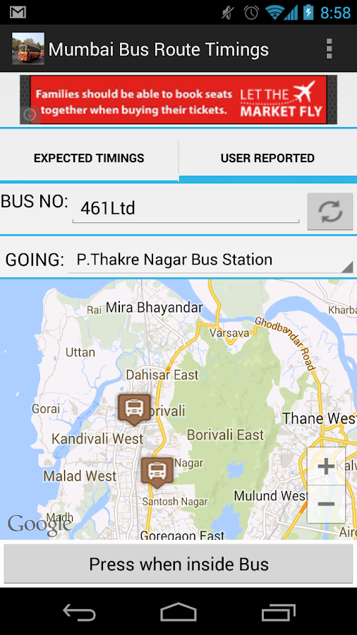 Mumbai BEST Bus Route Timings - screenshot