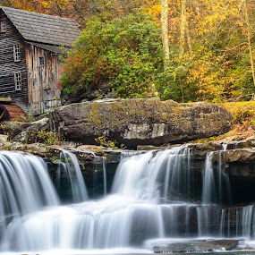 Grist Mill by Michelle Nolan - Landscapes Waterscapes ( west virgina, nature, colorful, color, grist mill, fall, water falls, babcock state park,  )