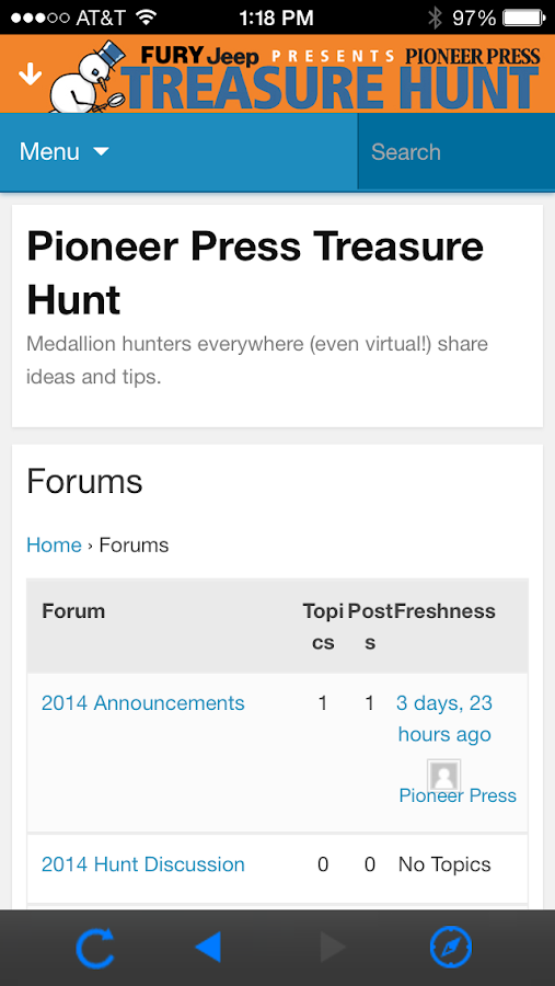 Pioneer Press Treasure Hunt - screenshot