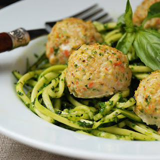 "Chicken Veggie Meatballs with Pesto Zucchini ""Noodles"""