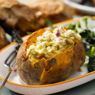 Mustard And Cheese Filled Sweet Potatoes
