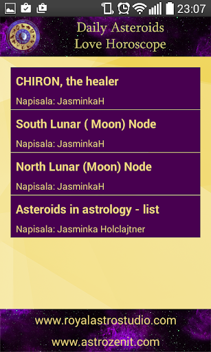 Love Asteroids Daily Horoscope