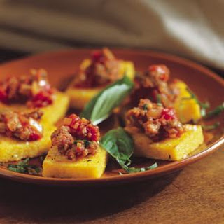 Polenta Crostini with Sausage Topping