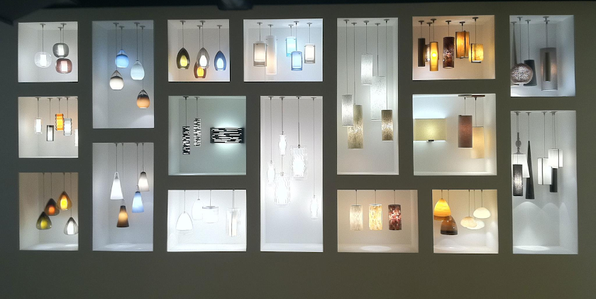 Display of stunning decorative lighting designs from Tech lighting..