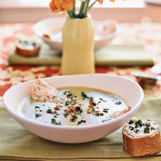 Soupe au Verte with Goat Cheese Toasts