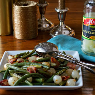 Green Beans with Bacon and Cocktail Onions.
