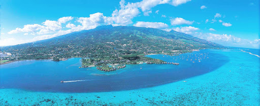 "Aerial-View-Tahiti - Tahiti, known as ""The Queen of the Pacific,"" is the largest and most populous of the 130 islands in French Polynesia."