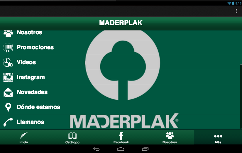 MADERPLAK: captura de pantalla