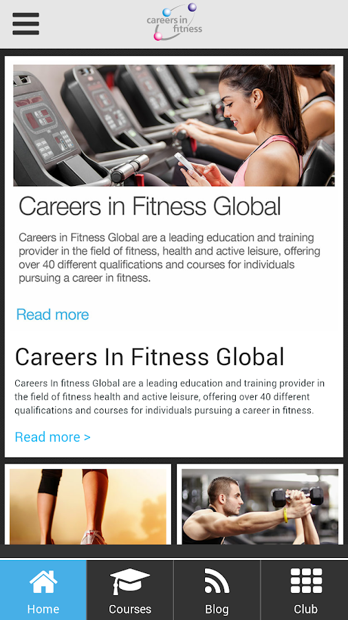 Careers in Fitness Global App- screenshot