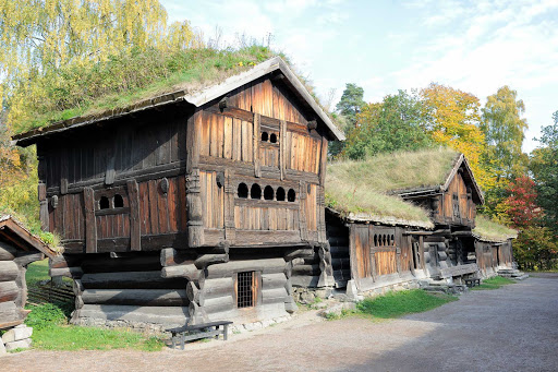 Buildings at Norsk Folkemuseum in Oslo, Norway.