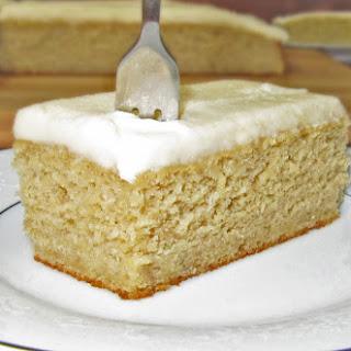 Brown Sugar Banana Snack Cake with Vanilla Frosting.