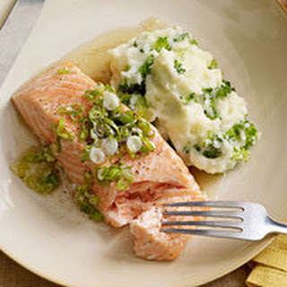 Salmon with Browned Butter and Mashed Broccoli Potatoes.