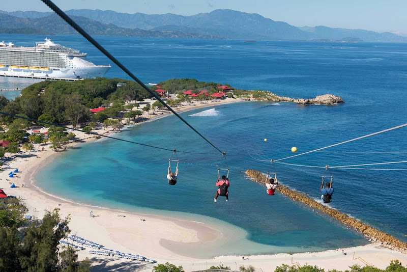 Experience the thrill of a zipline along the water's edge in Labadee, Haiti, during an Allure of the Seas cruise.