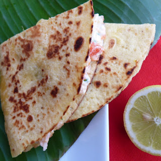 Surimi and Papaya Quesadillas with Mango Cream.