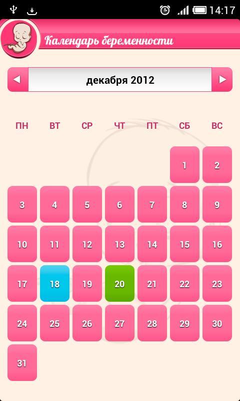 Календарь беременности  Беременность по неделям