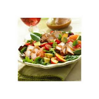 BBQ Pork Salad with Summer Fruits and Honey Balsamic Vinaigrette.