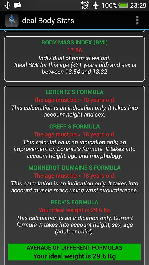 Ideal Weight BMI Adult & Child- screenshot
