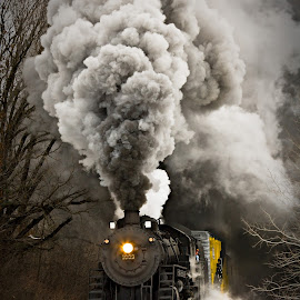 Soo Line 1003 by Ben Podolak - Transportation Trains ( 1003, snow, train, line, soo, smoke, steam,  )