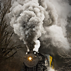 Soo Line 1003 by Ben Podolak - Transportation Trains ( 1003, snow, train, line, soo, smoke, steam,  )
