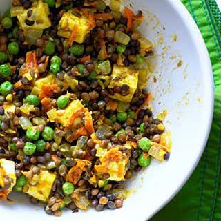 Curried Lentils with Paneer.