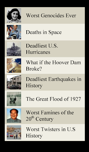 World Disasters Lists