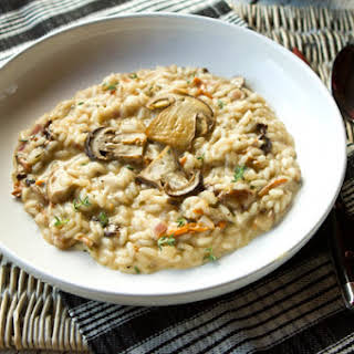 Creamy Mushroom Risotto With Thyme & Mascarpone Cheese.