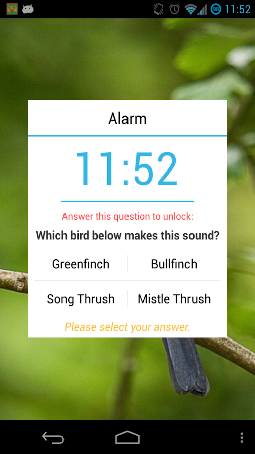 Bird Quiz Alarm Clock Premium - screenshot