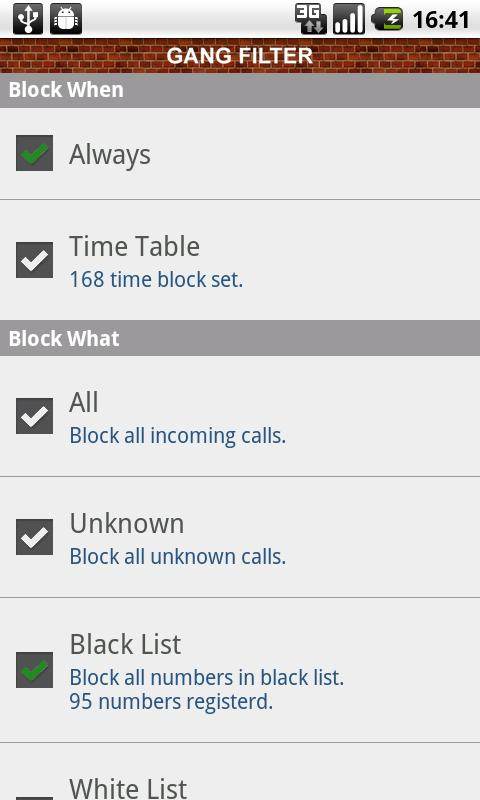 Gang Filter - call block - screenshot