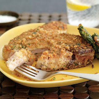 Pork Chops with Spinach Fritters.